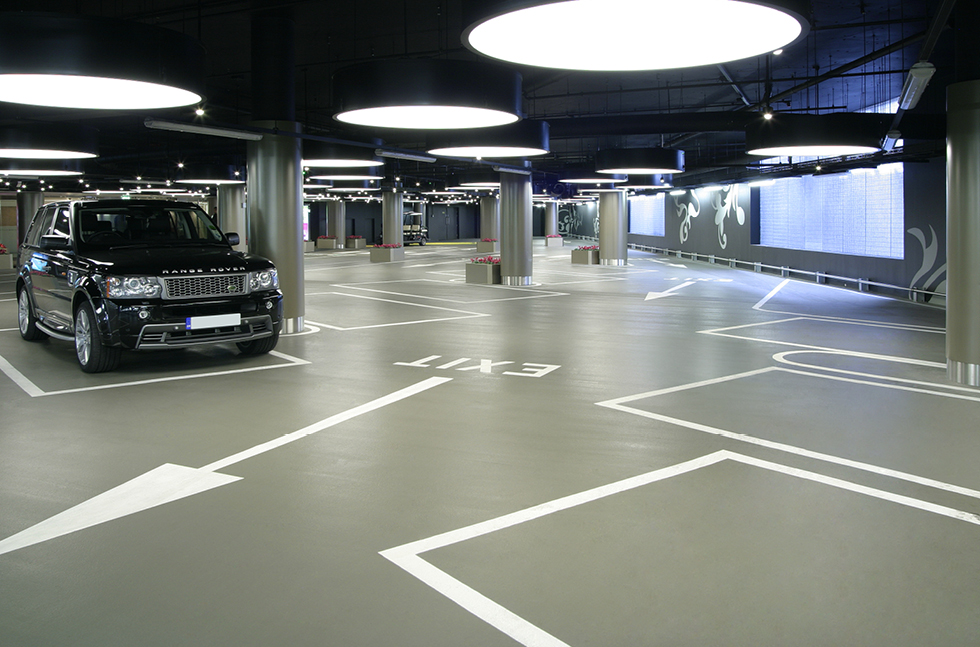 contemporary car parking at retail centre. Black Bedroom Furniture Sets. Home Design Ideas